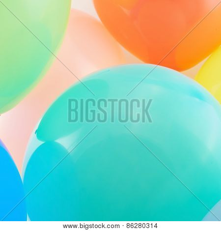 Close-up inflated balloon composition