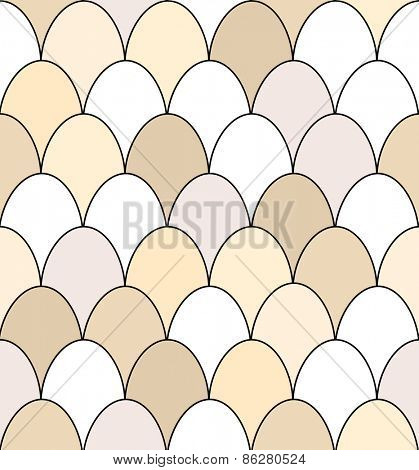 Seamless pattern of rows of brown and white chicken eggs.