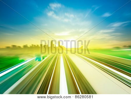 Sky Train moving fast towards Kuala Lumpur city center, Malaysia.