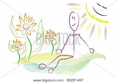 Man Sitting In Nature In The Sun Illustration