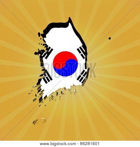 South Korea sunburst map with flag illustration