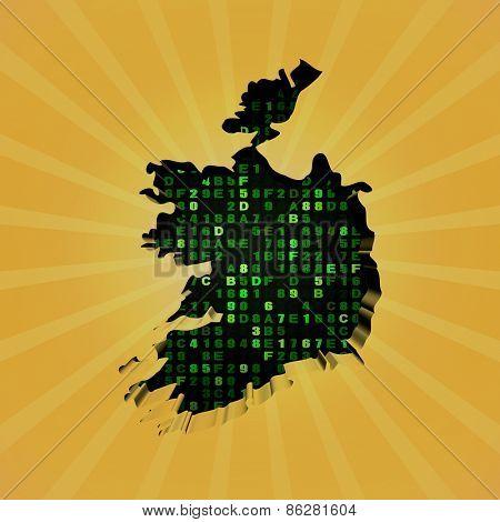 Ireland sunburst map with hex code illustration
