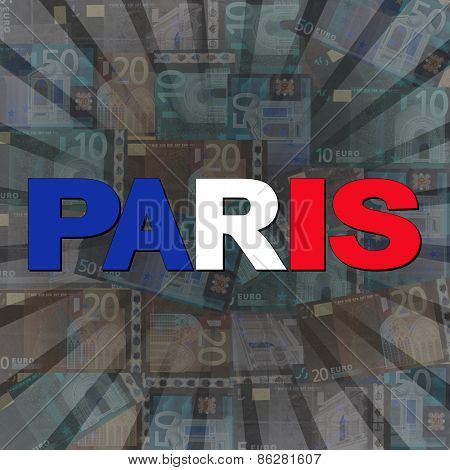 Paris flag text on Euros sunburst illustration