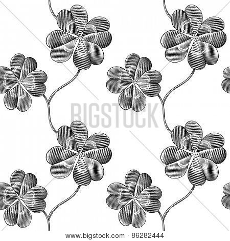 Engraved seamless pattern with four leaf clover