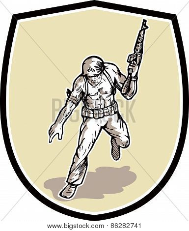 American Soldier Serviceman  Rifle Cartoon