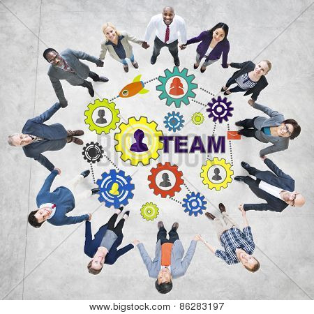 Business People Connection Togetherness Gear Corporate Team Concept