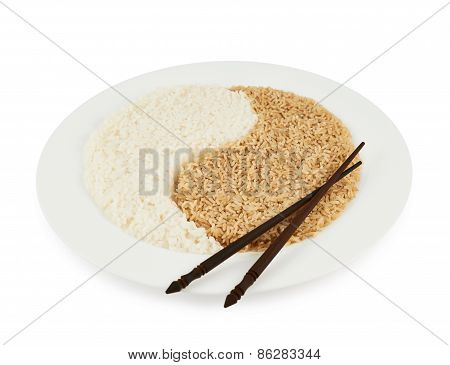 Plate of rice forming a yin yang sign