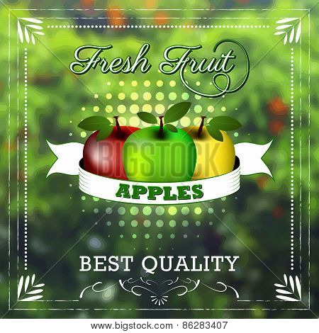 Apple fruit on natural background with ribbon