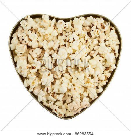 Heart shaped box full of popcorn