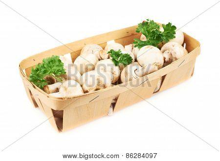 Champignon mushrooms and greens