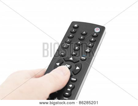 Tv Remote In Hand.