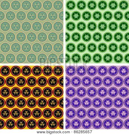seamless abstract geometrical art pattern set