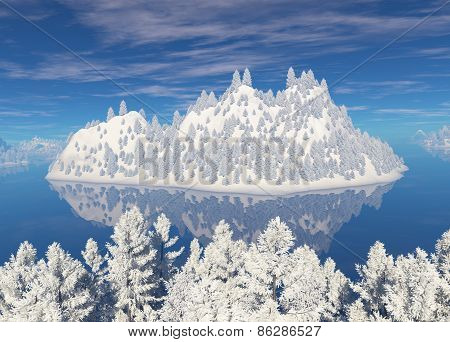 Snowcovered Island In The Sea.