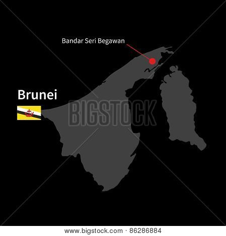 Detailed map of Brunei and capital city Bandar Seri Begawan with flag on black background