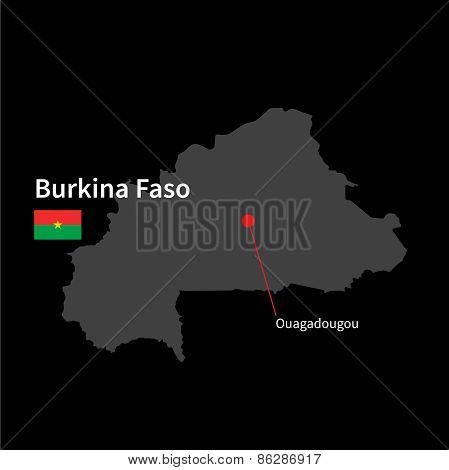 Detailed map of Burkina Faso and capital city Ouagadougou with flag on black background
