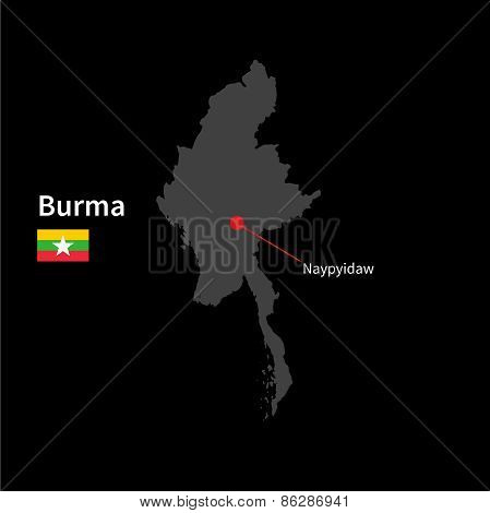 Detailed map of Burma and capital city Naypyidaw with flag on black background