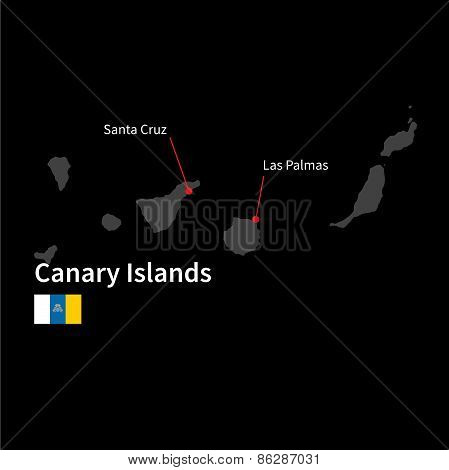 Detailed map of Canary Islands and capital city Santa Cruz with flag on black background