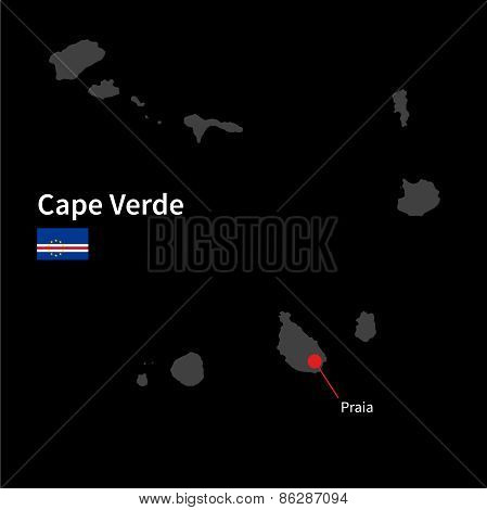 Detailed map of Cape Verde and capital city Praia with flag on black background