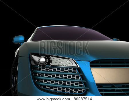 Sport Car. 3d model on black background.