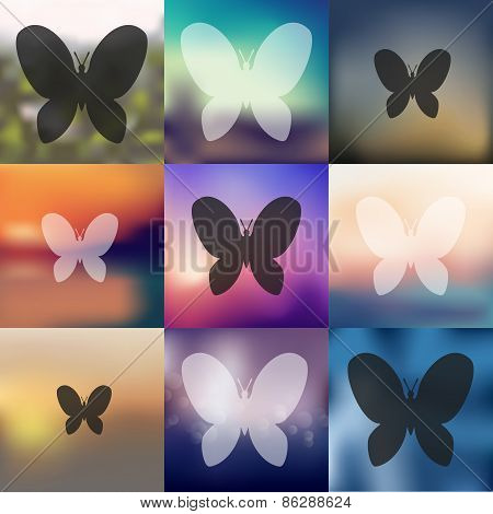 butterfly icon on blurred background
