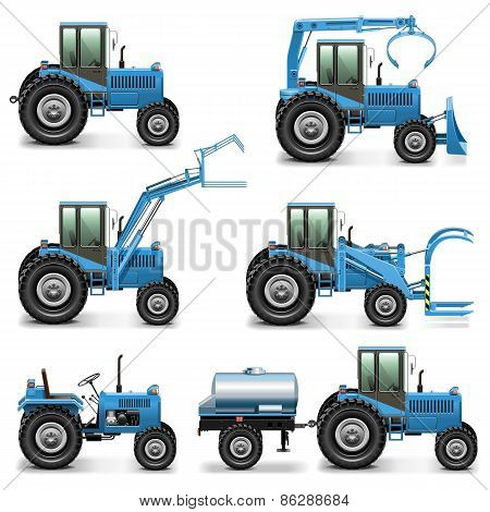 Vector Agricultural Tractor Set 2