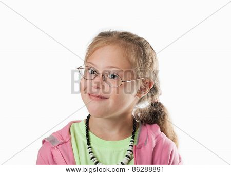 Chest Portrait White Girl With Blond Hair Wearing Glasses