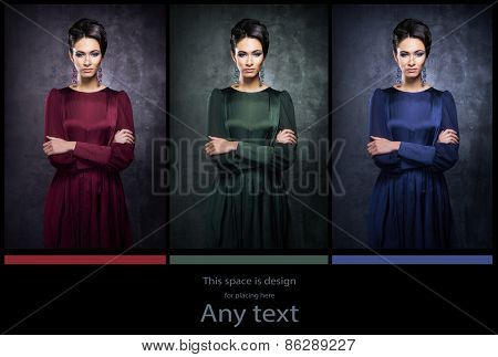 Young, beautiful and graceful woman in a retro styled fashion dress. Red, green and blue versions. RGB concept.