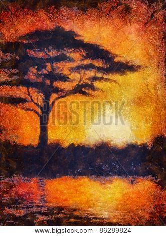 Sunset In Africa With A Tree Silhouette, Beautiful Colorful Pain