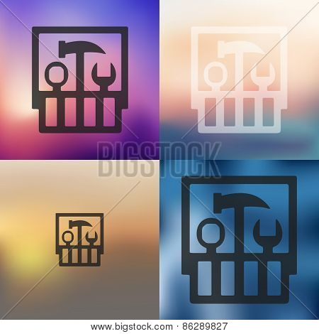 set of tools icon on blurred background