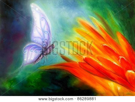 Butterfly Flying Towards An Orange Flower, Beautiful Detailed Oil Painting On Canvas