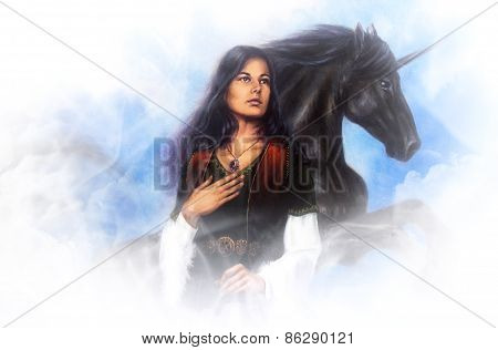 Woman Goddess And A Black Unicorn, Beautiful Detailed Oil Painting On Canvas
