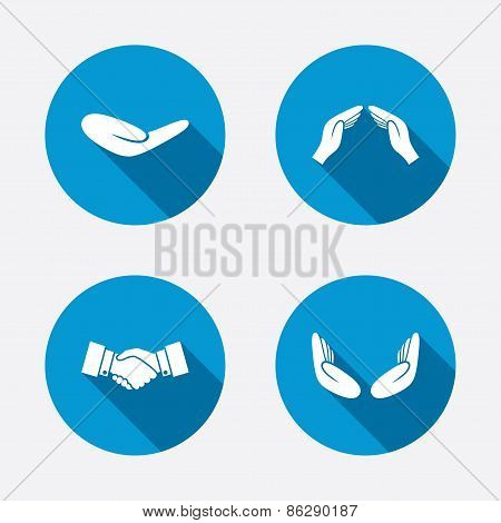 Hand icons. Handshake and insurance symbols.
