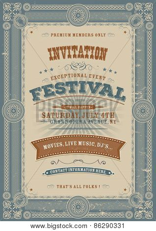 Vintage Holiday Festival Invitation Background