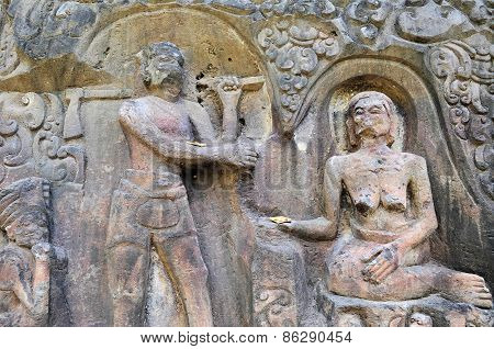 Yeh Pulu famous carved murals, Ubud, Bali, Indonesia