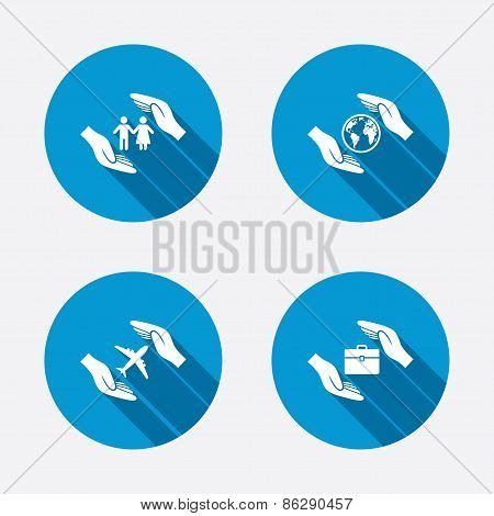 Hands insurance icons. Human life-assurance.
