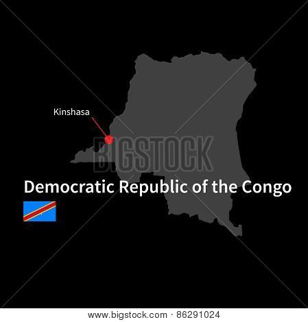 Detailed map of Democratic Republic of the Congo and capital city Kinshasa with flag on black backgr