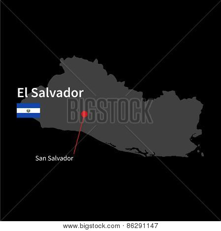 Detailed map of El Salvador and capital city San Salvador with flag on black background