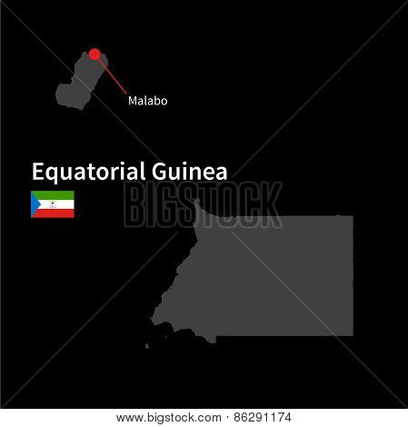 Detailed map of Equatorial Guinea and capital city Malabo with flag on black background