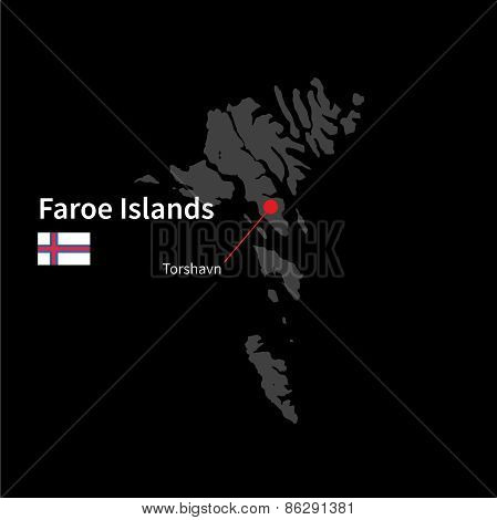 Detailed map of Faroe Islands and capital city Torshavn with flag on black background