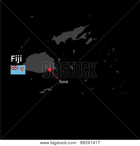 Detailed map of Fiji and capital city Suva with flag on black background