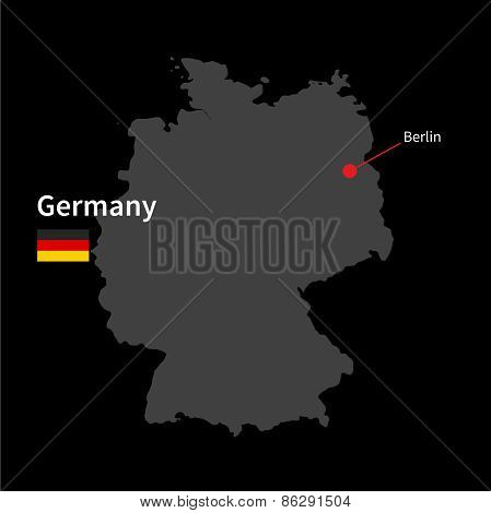 Detailed map of Germany and capital city Berlin with flag on black background