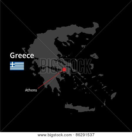 Detailed map of Greece and capital city Athens with flag on black background