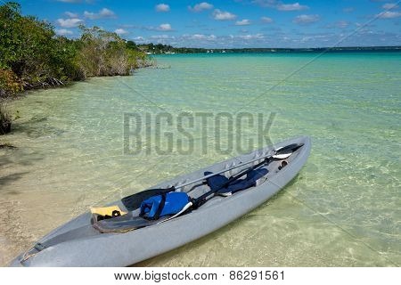 Beautiful Adventure At Tranquil Bacalar Lake. Riviera Maya, Mexico. Tropical Travel.