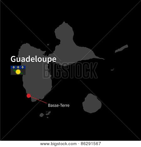 Detailed map of Guadeloupe and capital city Basse-Terre with flag on black background