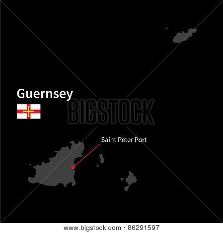 Detailed map of Guernsey and capital city Saint Peter Port with flag on black background