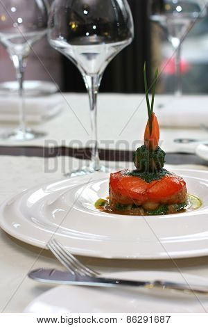 Vegetarian Creative Food In Luxurious Restaurant
