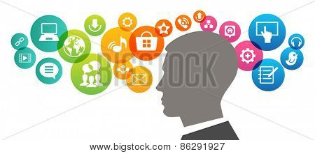 Infographics template with human head surrounded interface technology icons. Abstract colorful design for web and infographics. File is saved in AI10 EPS version.