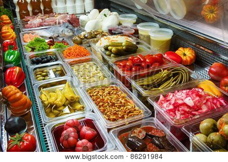 Variety Of Pickled Foods In A Store