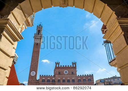 Piazza Campo Square And Mangia Tower, Siena, Italy