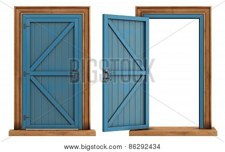 Old Wooden Doors On White Background